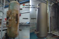 Esempio di cisterna prima e dopo la granigliatura